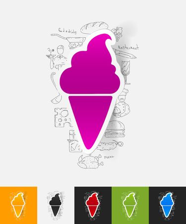 cream paper: hand drawn simple elements with ice cream paper sticker shadow Illustration