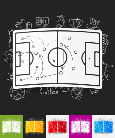 showground: hand drawn simple elements with playing field paper sticker shadow Illustration