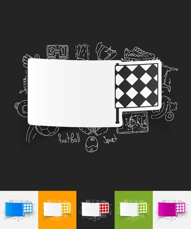 linesman: hand drawn simple elements with linesman flag paper sticker shadow