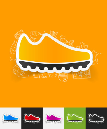 hand drawn simple elements with sneakers paper sticker shadow