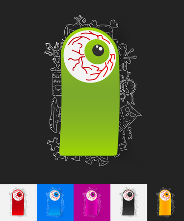 crystalline lens: hand drawn simple elements with eye paper sticker shadow Illustration