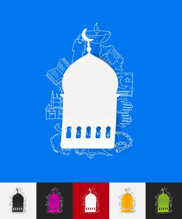 islamic prayer: hand drawn simple elements with mosque paper sticker shadow