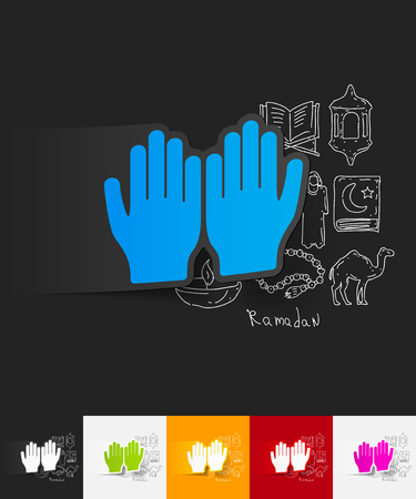prayer hands: hand drawn simple elements with prayer paper sticker shadow Illustration