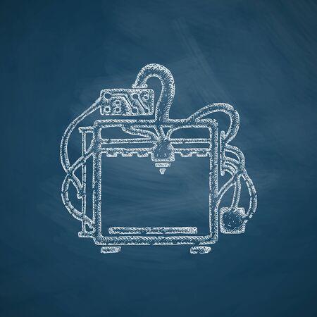 tridimensional: three d printer icon
