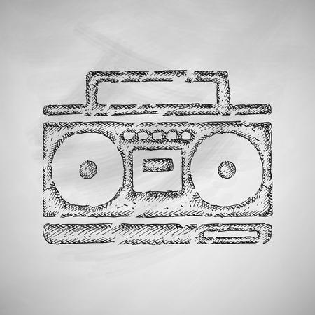 grabadora: icono de la grabadora de cassette Vectores
