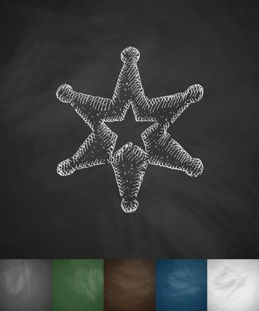 mainland: sheriff star icon. Hand drawn vector illustration. Chalkboard Design Illustration