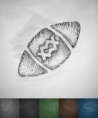 football ball: ball football icon. Hand drawn vector illustration. Chalkboard Design