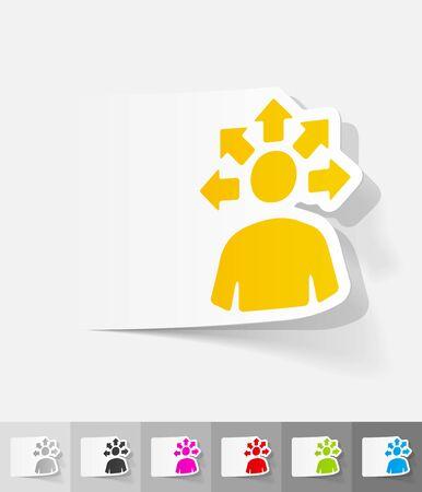 versatile: versatile idea paper sticker with shadow. Vector illustration