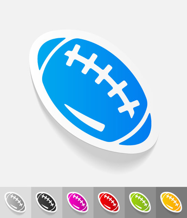 scrum: rugby ball paper sticker with shadow. Vector illustration