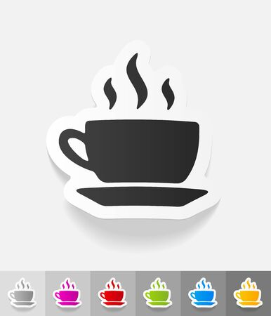 soluble: cup of coffee paper sticker with shadow. Vector illustration