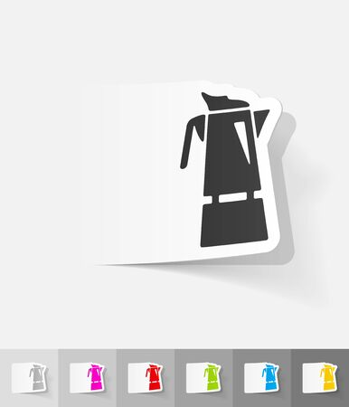 coffee pot: coffee pot paper sticker with shadow. Vector illustration
