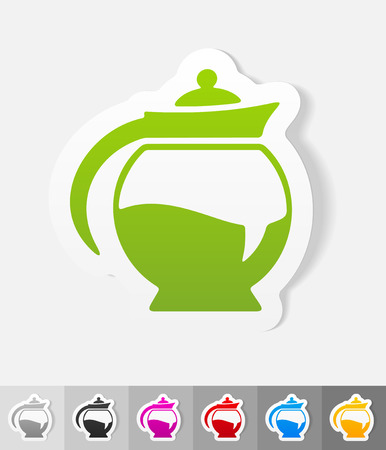 soluble: coffee pot paper sticker with shadow. Vector illustration