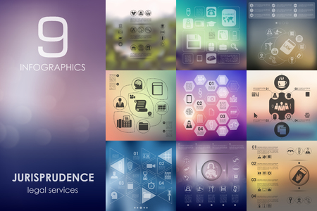 jurisprudence: jurisprudence vector infographics with unfocused blurred background Illustration