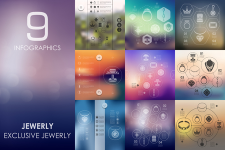 cufflink: jewelry vector infographics with unfocused blurred background