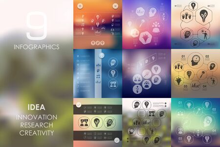 incarnation: idea vector infographics with unfocused blurred background