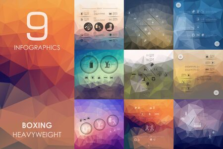 spotlit: boxing vector infographics with unfocused polygonal background