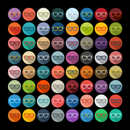 myopia: Flat design: glasses