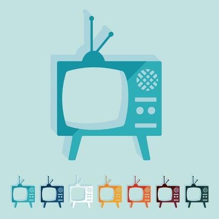 television antigua: Diseño plano: viejos tv