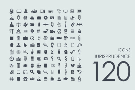justice legal: jurisprudence vector set of modern simple icons Illustration