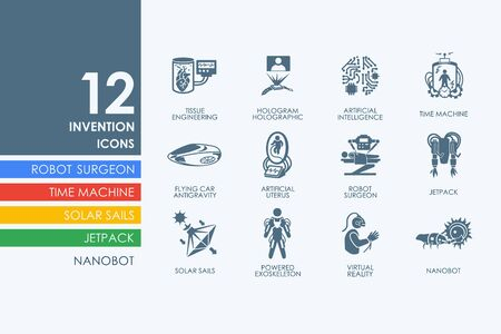 invention: invention vector set of modern simple icons Illustration