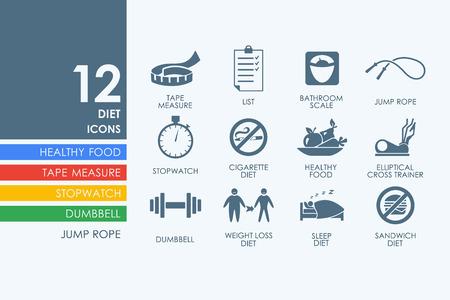 alimentacion balanceada: conjunto de dieta de vectores de iconos simples modernos