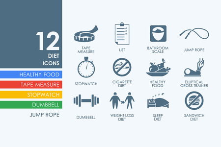 temperance: diet vector set of modern simple icons Illustration