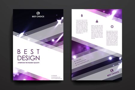 acid colors: Set of brochure, poster templates in neon molecule structure style. Beautiful design and layout