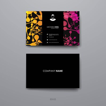 alternating organic: Set of Business Card Template in DNA molecule style. Beautiful Design and Layout