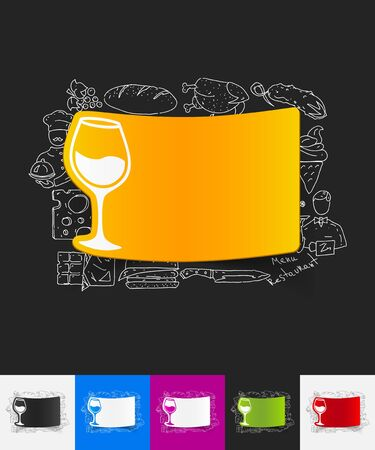 litre: hand drawn simple elements with wineglass paper sticker shadow