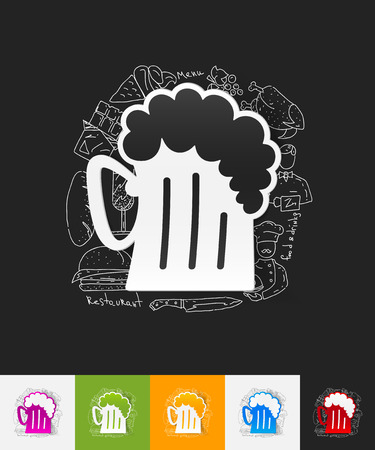 litre: hand drawn simple elements with beer paper sticker shadow