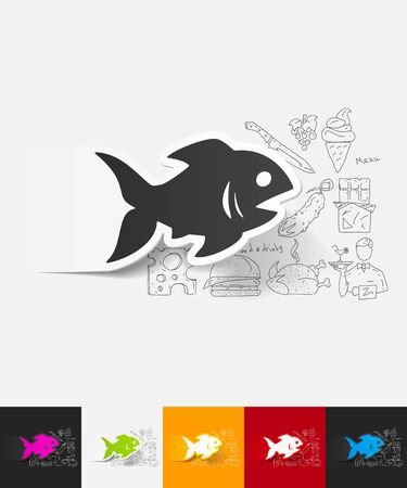 simple fish: hand drawn simple elements with fish paper sticker shadow