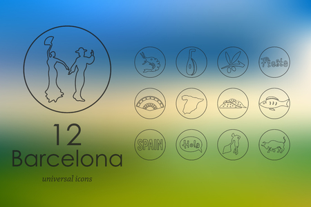 catalonia: Barcelona modern icons for mobile interface on blurred background Illustration