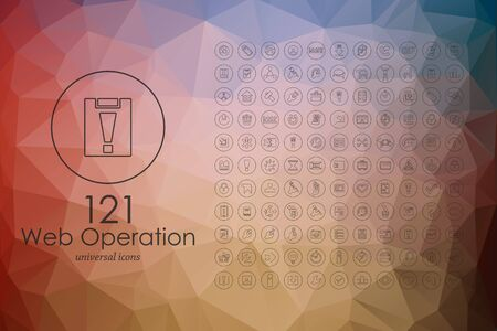 web operation modern icons for mobile interface on blurred background
