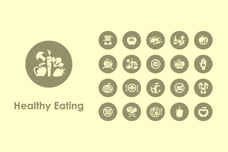 It is a set of healthy eating simple web icons