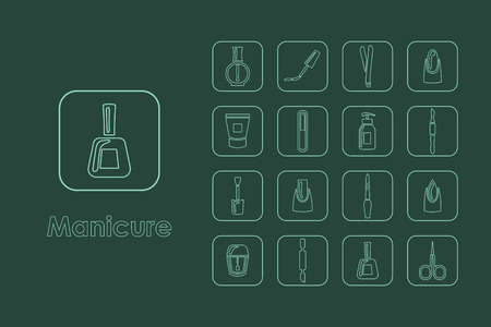 manicurist: It is a set of manicure simple web icons Illustration