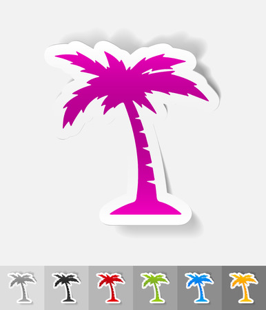 subtropics: palm paper sticker with shadow. Vector illustration Illustration