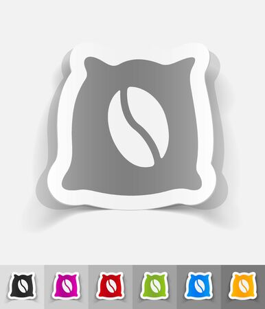 joyfulness: bag of coffee paper sticker with shadow. Vector illustration