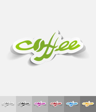 cheerfulness: COFFEE paper sticker with shadow. Vector illustration Illustration