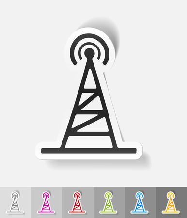 tv tower: tv tower paper sticker with shadow. Vector illustration Illustration