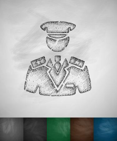 commander: commander icon. Hand drawn vector illustration. Chalkboard Design