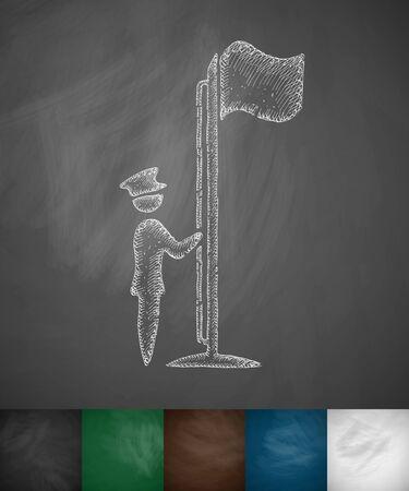 raise the white flag: raising the flag icon. Hand drawn vector illustration. Chalkboard Design Illustration