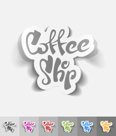 soluble: coffee shop paper sticker with shadow. Vector illustration