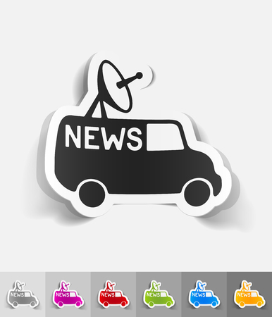 news van: news van paper sticker with shadow. Vector illustration Illustration