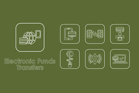 transfers: It is a set of electronic funds transfers simple web icons