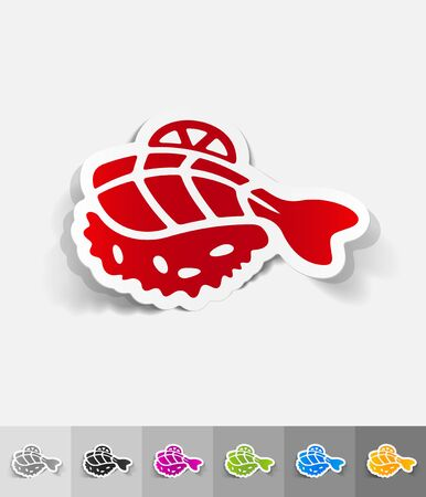 japanese food: japanese food paper sticker with shadow. Vector illustration Illustration