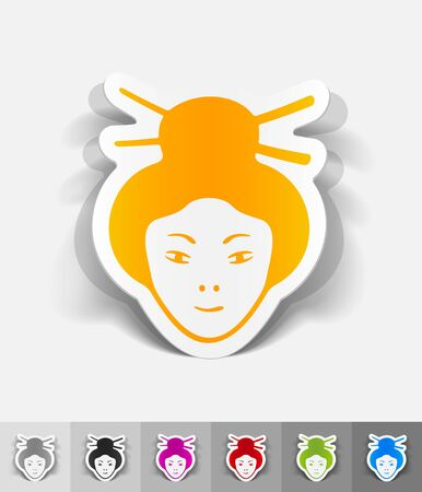 japanese woman: japanese woman paper sticker with shadow. Vector illustration Illustration