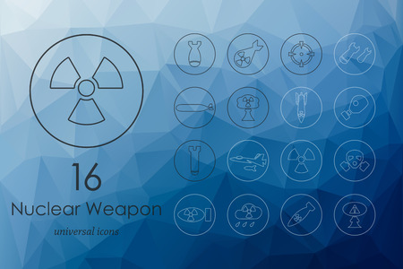 end of the world: nuclear weapon modern icons for mobile interface on blurred background