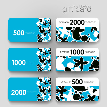 varied: Gift coupon, discount card template with  abstract background. Creative layout design