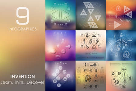 incarnation: invention vector infographics with unfocused blurred background Illustration