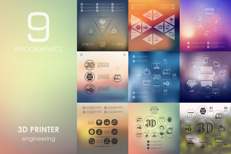 three d: three d printer vector infographics with unfocused blurred background Illustration